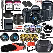 Canon EOS M50 Mirrorless Digital Camera (Black) with EF-M 15-45mm Lens & EF-S 55-250mm Lens Bundle + EF-M to EF/EF-S Lens Mount Adapter + Prime Accessory Bundle