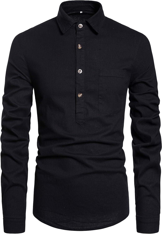 DELCARINO Men's Casual Long Sleeve Cotton Linen Polo Shirt Button-Down Regular-Fit Henley Shirts