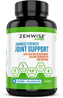 Zenwise Glucosamine Chondroitin Sulfate MSM Curcumin - Joint Supplement with Hyaluronic Acid for Extra Strength Relief - Natural Health & Mobility Support for Pain, Aches & Soreness - 90 Tablets