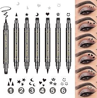 LOKFAR 6 Pcs Double-headed Liquid Eyeliner Stamp Pen Set, Eye Liners for Women Waterproof Eyeliner Pencil Black Eye-liner Stencils Long-Lasting Tattoo Makeup-Triangle, Star, Moon, Heart, Flower, Smiley