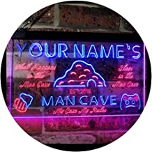 Personalized Your Name Custom Man Cave Established Year Dual Color LED Neon Sign Red & Blue 400 x 300 mm st6s43-pb1-tm-rb