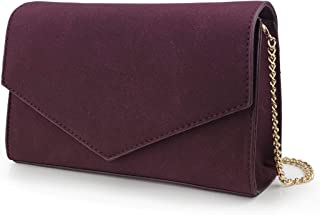 Minimalist Evening Envelope Clutch Chain Shoulder Bag Women Faux Leather Suede Purse
