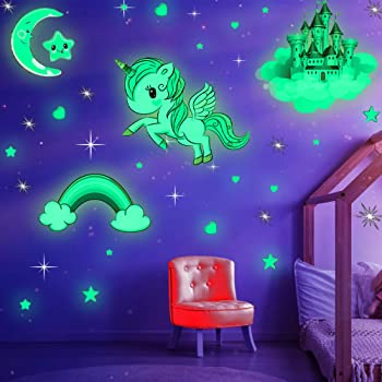 Glowing Unicorn for Ceiling and Wall Decals Kids Bedding Room or Party Birthday Gift 353 PCS Glow in Dark Stars and Moon Castle
