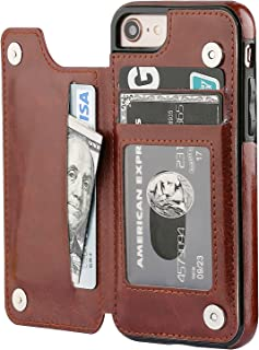 iPhone 8 Wallet Case with Card Holder,OT ONETOP iPhone 7 Case Wallet Premium PU Leather Kickstand Card Slots,Double Magnetic Clasp and Durable Shockproof Cover 4.7 Inch(Brown)