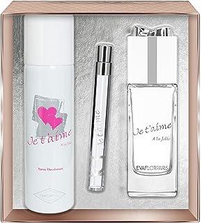 Evaflorparis Je TAime À la Folie Gift Box Eau de Parfum 100 Ml + Déodorant 150 Ml + Pocket Atomizer 12 Ml Set Women Spray...