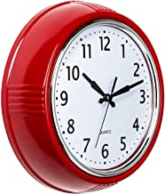 Bernhard Products Retro Wall Clock 9.5 Inch Red Kitchen 50's Vintage Design Round Silent Non Ticking Battery Operated Qual...
