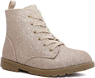 Charles Albert Girl's Glitter Lace Up Combat Boots - Low Heel Winter Shoes Toddler/Little Kids