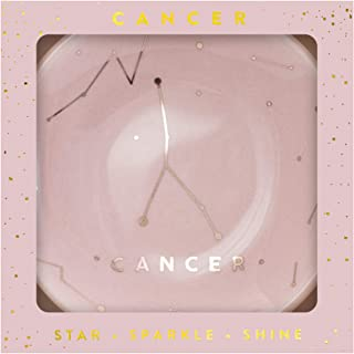 Lucky Feather Zodiac Ring Dish for Women and Girls – Glazed Ceramic Jewelry Tray with Astrological Constellation Depicted in Opulent Metallic Gold - Cancer