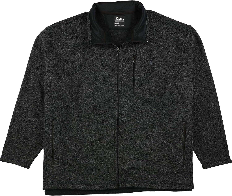Ralph Lauren Mens Fleece Mock Neck Jacket, Black, Big 5X