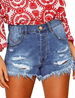 LookbookStore Women's Mid Rise Frayed Ripped Raw Hem Denim Jean Shorts