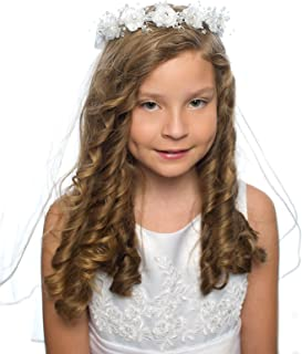 OLIVIA KOO Girls First Communion White Floral Wreath Veil