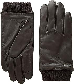 BOSS Hugo Boss Men's Hewen Touch Tech Leather Gloves Dark Brown 8