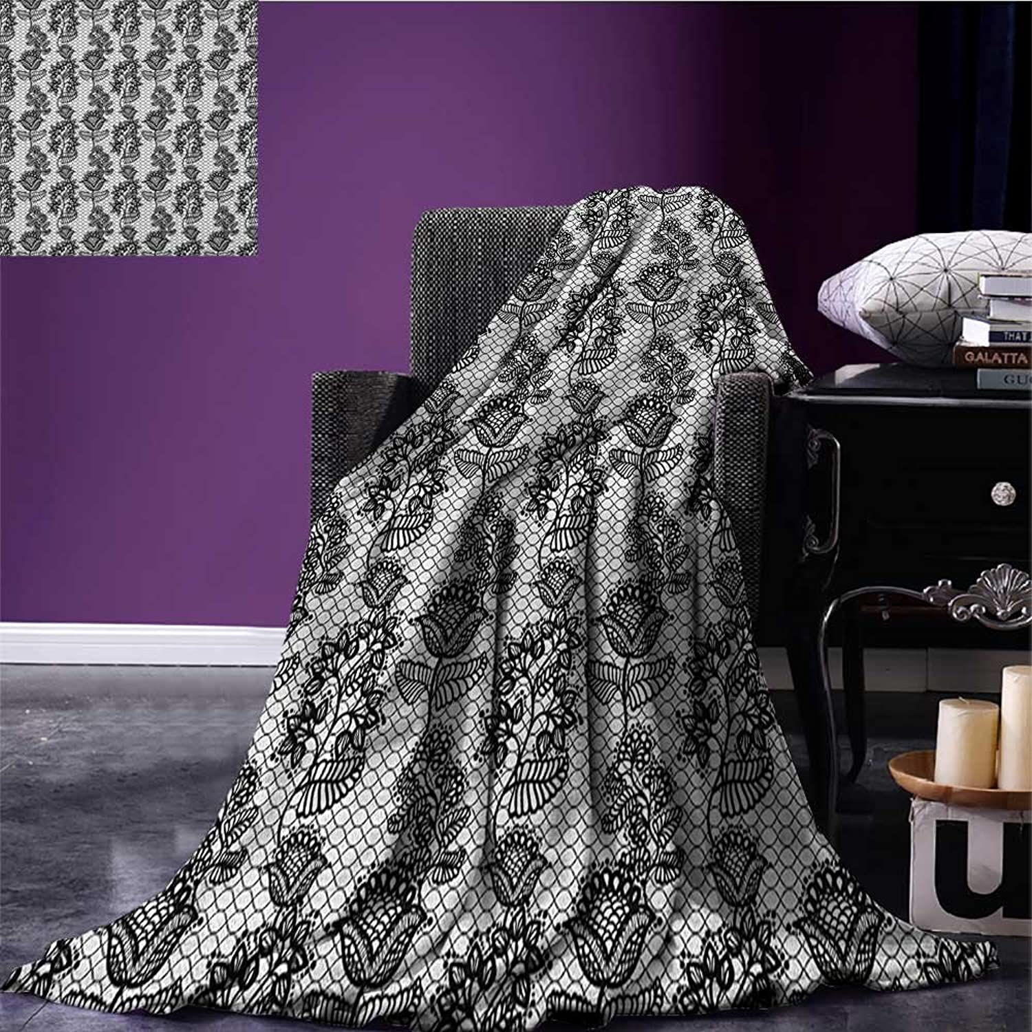 Black and White Emergency Blanket Lace Style Victorian Flower Motifs on Wavy Backdrop Western Girls Pattern Print Black White Size 59 x35.5