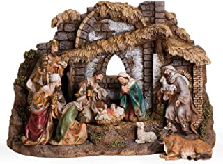 Rustic Brown Nativity 11 x 16 Resin Stone Decorative Figurine 10 Piece Set