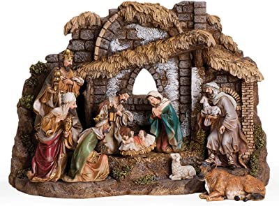 "Joseph's Studio by Roman - 10-Piece Nativity Set with Stable, Includes Holy Family, Three Kings, Shepherd, Ox and Sheep, 11"" H, Resin and Stone, Decorative Figures"