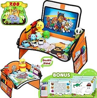 Flyfun Doppelfunktion Kinder Reisetisch, Kindersitz Spiel und Knietablett Reisetisch, Abnehmbarer Tablet Tasche und Seitentaschen mit 1 Transparenter Film + 5 Zeichenpapier + 6 Farbstifte