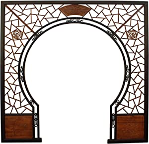 Panels & Gate Chinese Two Brown Stain Wood Around Arch Wood Room Divider Acs3537