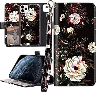 Lontect Compatible iPhone 11 Pro Max Case PU Leather Wallet Case Stand with Detachable Slim Back Cover, Card Holders, Wrist Strap, Magnetic Closure for Apple iPhone 11 Pro Max 6.5, Black/White Flower