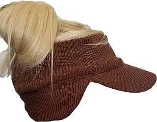 Double Layer Knit Open Visor Brim Ear Flap Hat, Winter Visor Headband Ponytail Beanie