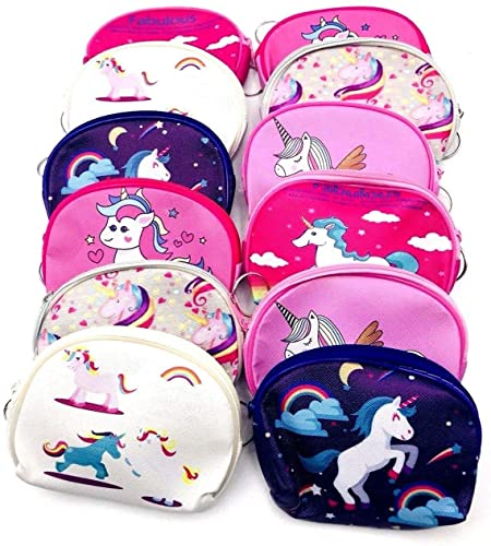 Combo of 04 Pcs Newest Model Cutest Unicorn Cartoon Round Shape Coin Purse Tinplate Wallet Zipper Bag Pouch Earphones Storage Package Bag for Girls Kids Mini Coins Wallets
