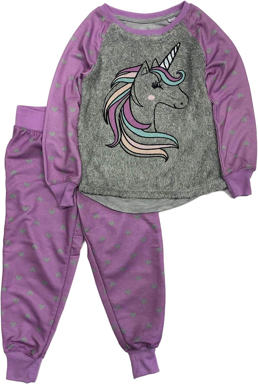 Girls Purple Unicorn Pajamas Sweatshirt & Heart Pants Sleep Set