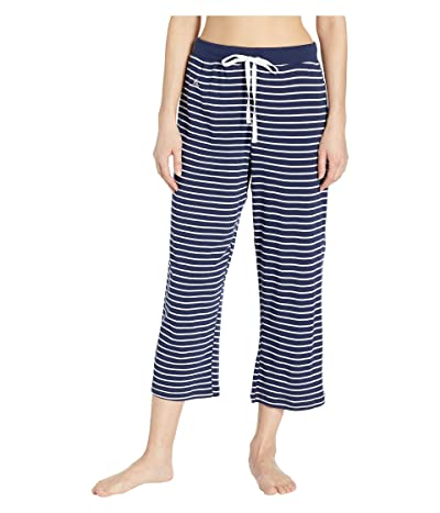 LAUREN Ralph Lauren Capri Pants with Wide Waistband (Navy Stripe) Women