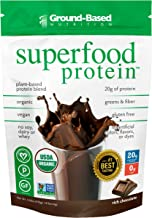 Superfood Protein Powder – Chocolate Flavor – by Ground Based Nutrition – Plant Based Protein Superfood – Vegan – 14 Servings Estimated Price : £ 25,75