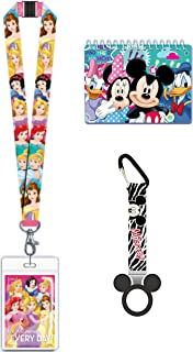 Magical Memories Collection Disney Autograph Book, Lanyard, and Bottle Holder Bundle- Princess Trip Vacation Cruise Accessory for ID and Pin Trading (Princess)