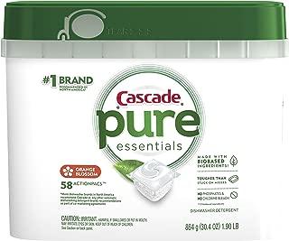 Cascade Pure Essentials Actionpacs Dishwasher Detergent, Orange Blossom, 58 Count