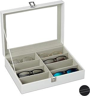 Relaxdays Etui à lunettes pour 8 paires, Rangement à lunettes de soleil, 8,5 x 33,5 x 24,5 cm, Coffre en cuir, blanc