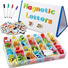 CHUCHIK ABC Magnetic Letters Set for Kids. Alphabet Lowercase and Uppercase Foam Magnets with White Board, 4 Pens and Eraser. (5-Colors)