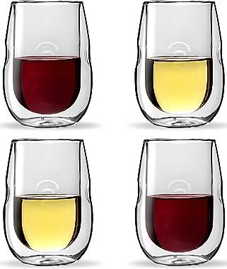 Moderna Artisan Series Copas de Vino Insuladas con Doble Pared, 4 piezas