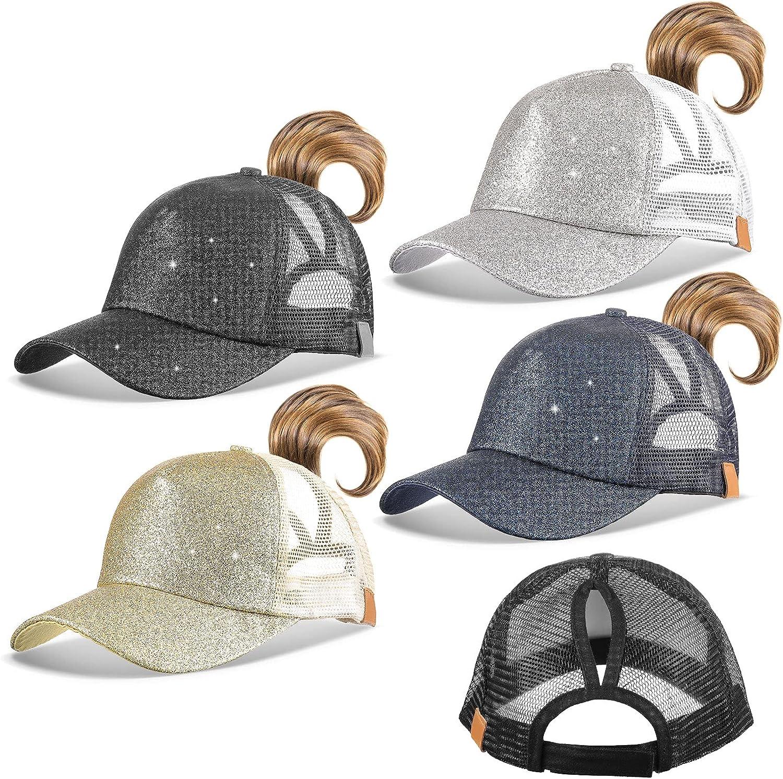 Bennim 4 Pieces Women Glitter Ponytail Cap, Messy High Buns Adjustable Mesh Trucker Ponycaps Plain Baseball Cap Summer Sun Visor Caps