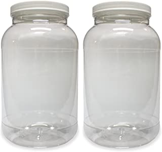 1 Gallon Plastic Jar (2 Pack), Wide Mouth, Clear, with Lined Fresh Seal Lid, Shatter-Proof Container Storage PET 1 BPA Free 4 Quart 128 oz