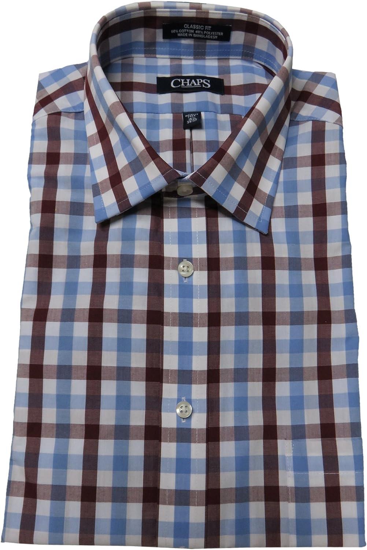 Chaps Men's Classic Fit Shirt, Size 16 1/2-36/37, Burgundy/Multi Checks