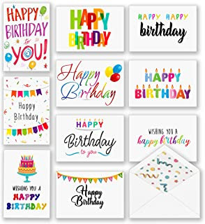 $24 » 100 Happy Birthday Cards, Large Assorted Greeting Notes with Envelopes and Stickers, 10 Unique Designs, 5x7 Inch, Thick Card Stock Bulk Box Set, Blank Inside