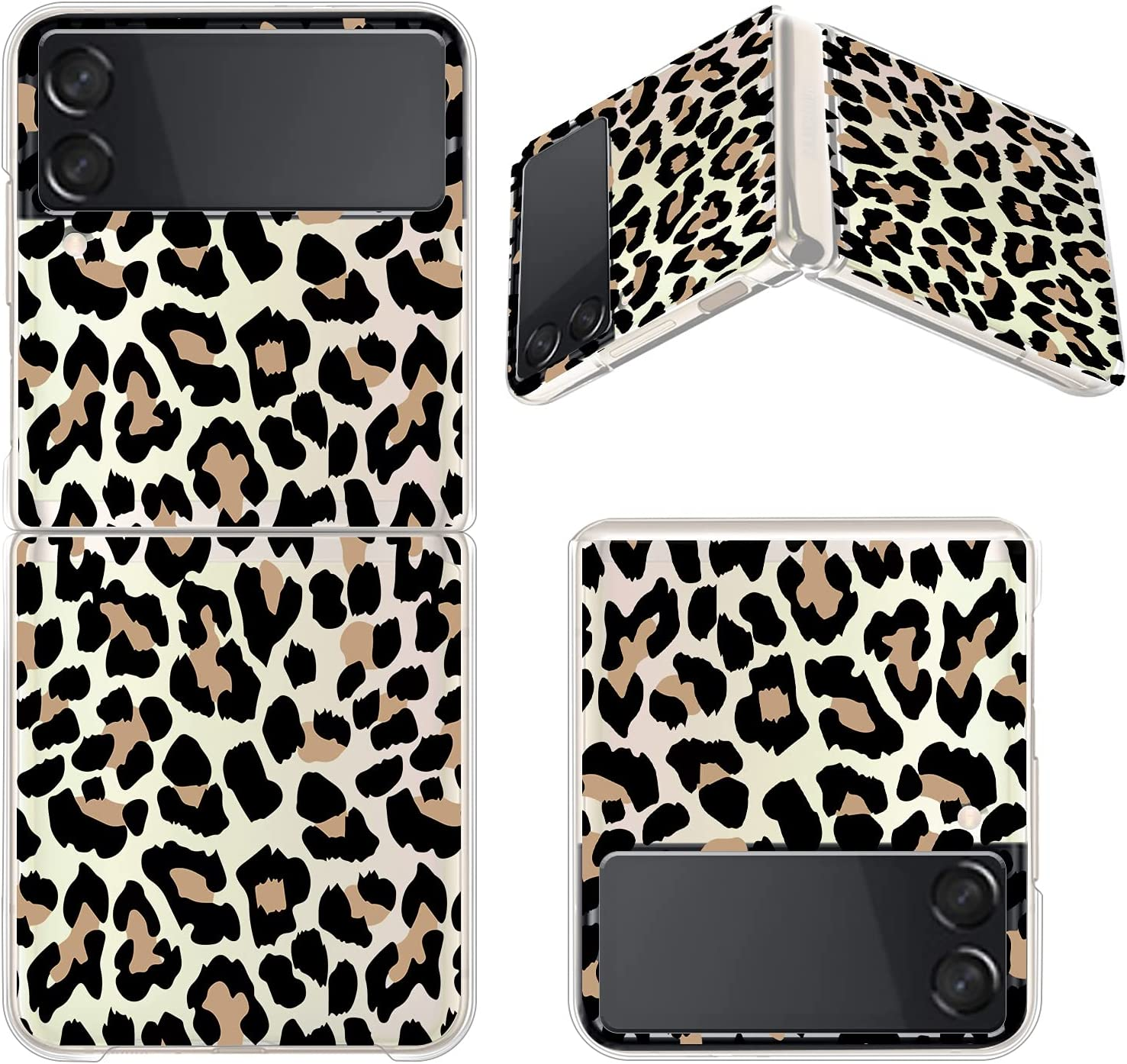 Gukalong Clear Case for Samsung Galaxy Z Flip 3 5G Full Body Shockproof Protective Hard Bumper Folding Cover Slim Thin Leopard Print Design Wireless Charging Case for Galaxy Z Flip 3 2021