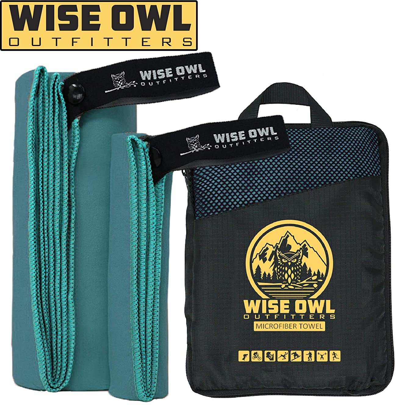 Wise Owl Outfitters Camping Towel - Ultra Soft Compact Quick Dry Microfiber Best Fitness Beach Hiking Yoga Travel Sports Backpacking & The Gym Fast Drying & Free Bonus Washcloth Hand Towel