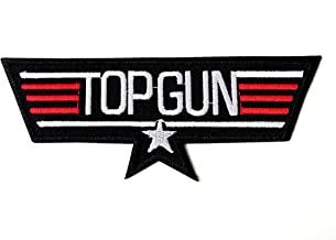 Top Gun Fighter Black Color Logo Biker Motorcycle Embroidered Sew on Iron on Patch for Backpacks Jeans Jackets Clothing etc.