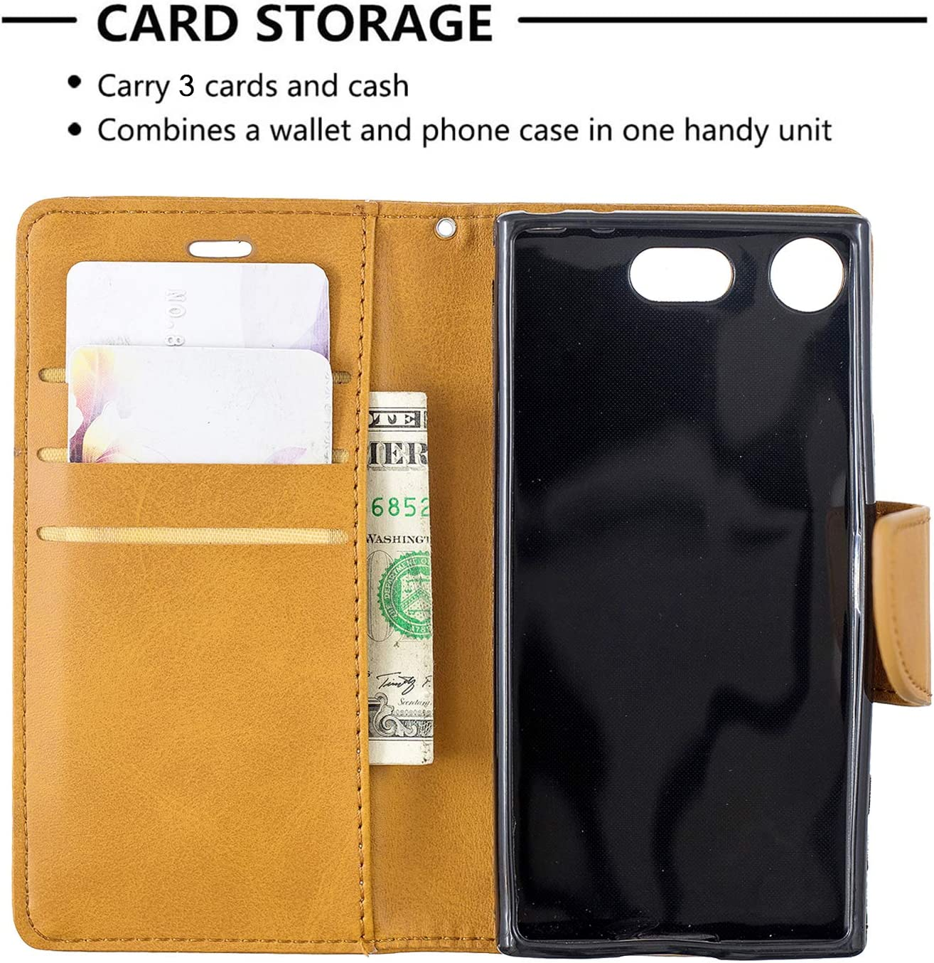 Case Leather Wallet Case with Kickstand Card Holder Shockproof Flip Case Cover for Sony Xperia XZ1 Compact Lomogo Sony Xperia XZ1 Compact LOBFE150611 Blue 4.6-inch