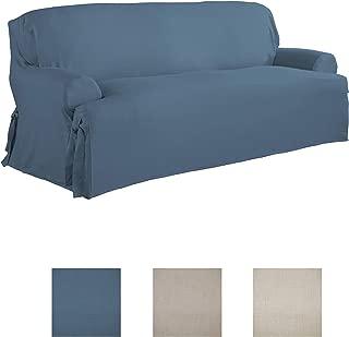 Serta   Relaxed Fit Durable Woven Linen Canvas Furniture Slipcover (T-Sofa, Indigo)