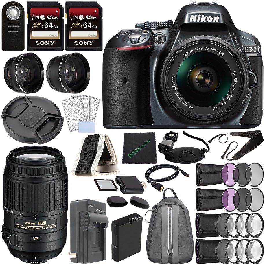 Nikon D5300 DSLR Camera with 18-55mm Lens (Grey) + Nikon AF-S DX NIKKOR 55-300mm f/4.5-5.6G ED VR Lens + Battery + Charger + Sony 64GB Card + HDMI + Backpack Case + Remote Bundle