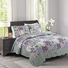 Rustic Patchwork Bedspread Set, Cotton Coverlet with 2 Pillow Shams, Printing Bed Throw, Warm Blanket, 240×260cm B