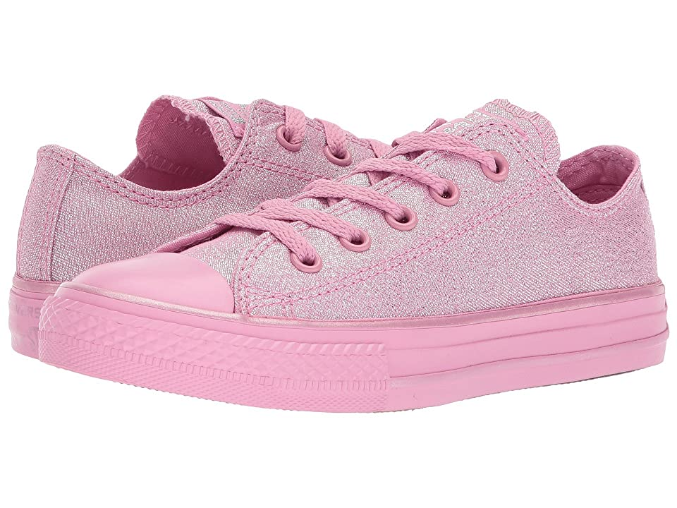 Converse Kids Chuck Taylor All Star Mono Shine Ox (Little Kid/Big Kid) (Light Orchid/Silver/Light Orchid) Girls Shoes