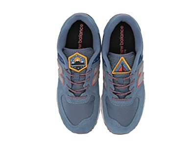 New Balance Kids Camp 574 (Big Kid) (Chambray/Coral Glow) Boys Shoes