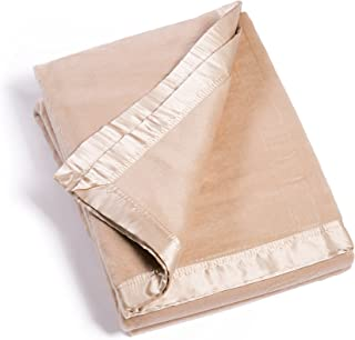 Fishers Finery Microfiber Fleece Throw Blanket with 100% Silk Trim (Sand, Queen)