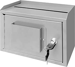 "FixtureDisplays 10 x 7.2 x 3"", Metal Multipurpose, Donation Box,Cash and Mail Box,Suggestion Box 15211 Grey"