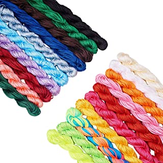 PH PandaHall 20 Colors 1mm Chinese Knotting Cord Nylon Shamballa Macrame Thread Cord Beading String for Bracelet Making(About 400m/ 430yards)