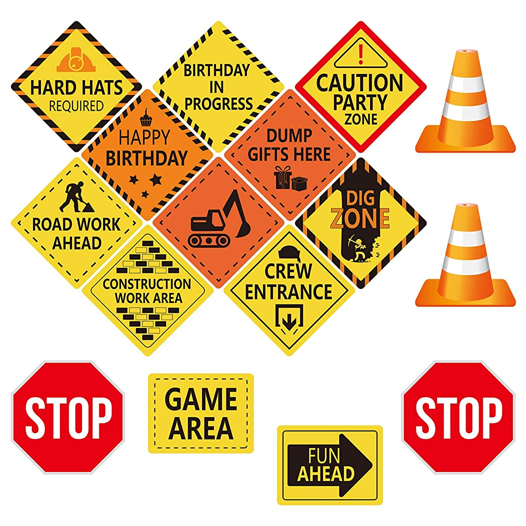 TUPARKA 16pcs Construction Themed Party Decorations Double Sided Cutouts Traffic Signs for Boys Kids Birthday Party and Bedroom Decorations