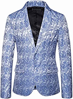 Men's Fashion Printed Performence Blazer Two Buttons Slim Fit Peak Lapel Tuxedos Jacket Prom Party Coat Casual Coat